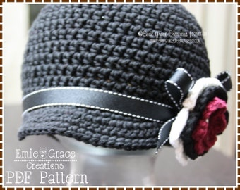 Newsboy Hat Crochet Pattern, 8 Sizes from Newborn to Adult, JANINE - pdf 226