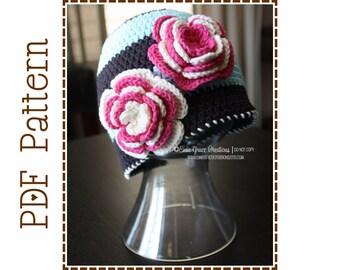 Crochet Flower Hat Pattern, Striped Beanie, McKINLEY - pdf 216