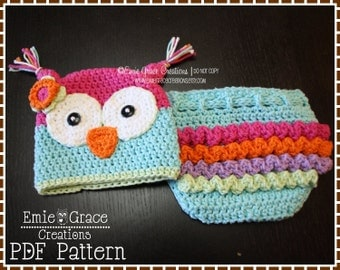 Crochet Owl Hat and Ruffle Diaper Cover Patterns, OLIVIA and OLIVANDER - pdf 131, 709