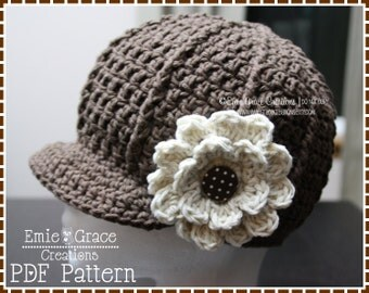 Crochet Newsboy Hat Pattern, Ribbed Flower Cap, SARA - pdf 204