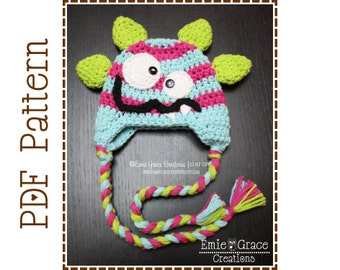 Monster Hat Crochet Pattern, 8 Sizes Newborn to Adult, SILLY MILLY and MILO Monster - pdf 139