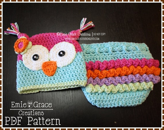 Free Crochet Owl Hat And Diaper Cover Pattern : Crochet Owl Hat and Ruffle Diaper Cover Patterns OLIVIA and