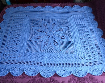 Crocheted Blue Flower Afghan Lapghan Open Filet Light and just perfect for summer - Made and ready to ship