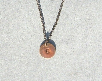 Antique Copper Initial E Necklace