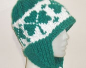 Hand Knit Hat Woman Hat with shamrock design White & Green Hat 3 Leaves Clover Earflap Hat  - WINTER SALE