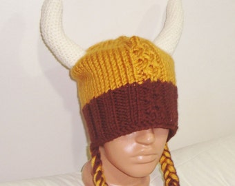 Hand Knit Viking Hat Mens or Womens Hat in Gold Brown Cream Horns - Festival clothing accessories