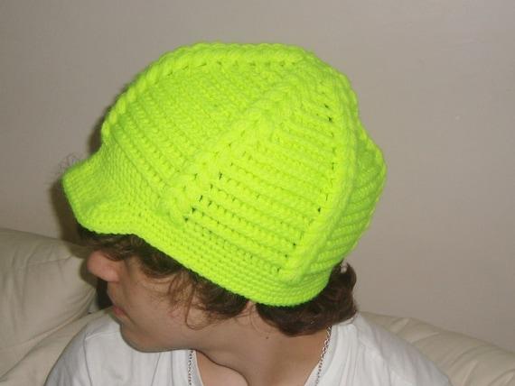 Crochet hat for womens cap or mens cap hat in neon yellow