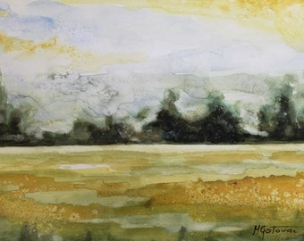 Original Watercolor Painting, Landscape,9x12 FREE SHIPPING