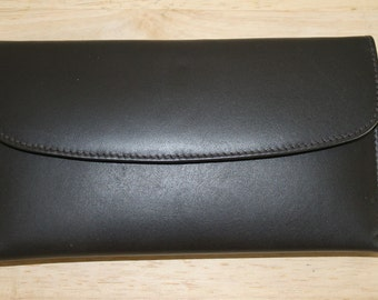 Genuine Leather  2 in One Checkbook wallet CLUTCH 1980's style - Hard to find