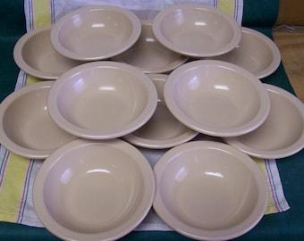 Vintage Texas Ware Melmac Bowl Beige Rimmed Cereal Soup Bowl 12 Piece Set
