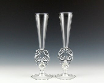 Lyre Champagne Flutes, Clear hand blown glass