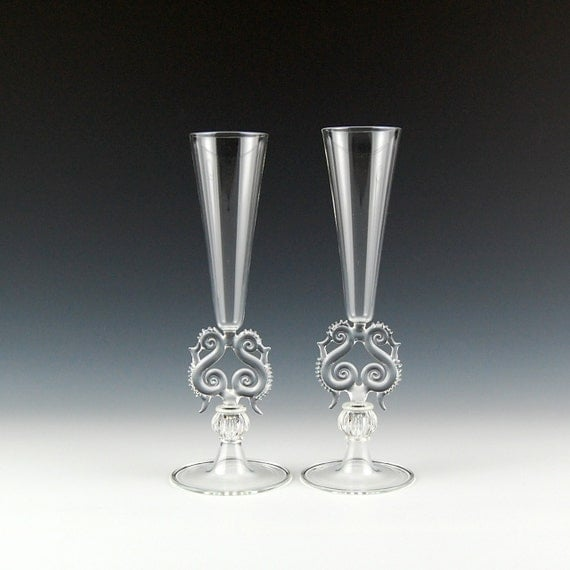 Items similar to lyre champagne flutes clear hand blown glass on etsy - Hand blown champagne flutes ...