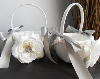 Satin Flower Girl Baskets Set of 2, Custom Flower Girl Baskets, Rose Flower Girl Basket, Bling Wedding Flower Girl Basket