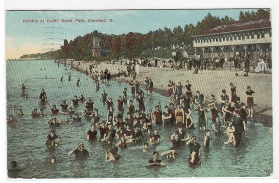 items similar to bathing crowd euclid beach cleveland ohio