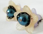 Purple Peach Blue Pearl Lucite Flower Dangle Earrings