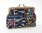Medium Coin Purse in Black with New York City Subway Map