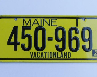 Vintage Cereal Premium License Plate Maine 1970 mini plate