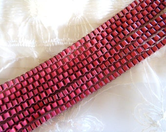 Dark Pink Venetian Box Chain, Stainless Steel Chain, Colored Chain 3mm- 2 Feet / 60cm approx.(1 piece)