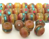 20 beads - 10 mm Tibetan copal resin beads with brass ,turquoise coral inlay - ML030D