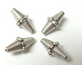 Tibetan Silver tone bicone metal beads - 4 beads - BD388