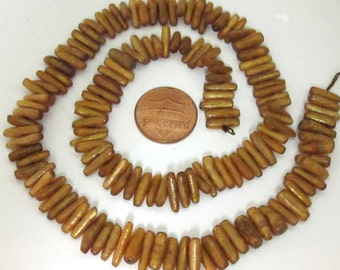 Natural Gold coral stick shape beads - FULL STRAND 16 inches - NB091A