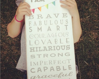 Family Rules Painted Wood Sign  I am Brave ... I am Enough by Barn Owl Primitives Motivational Wall Decor