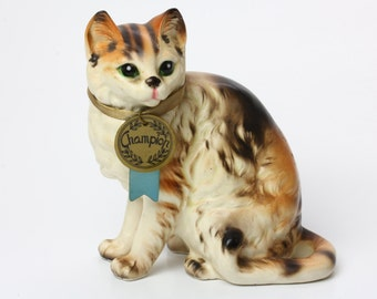 Napco Vintage Calico Cat Ceramic Figurine C7303