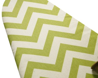 PADDED Ironing Board Cover made with heavy weight olive green and vanilla cream chevron select the size