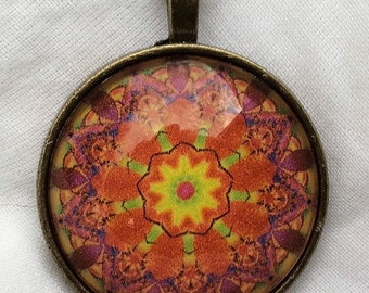 CLEARANCE 1 and one half Inch Mandala Glass Cameo Pendant in Antique Brass Setting with chain