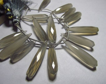 8 inches strand Gorgeous Grey Colour  - CHALCEDONY - Long Faceted Tear Drops  Briolett Sparkle Huge Size 30 - 34 mm long
