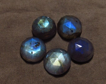 13 mm - 5 pcs - Gorgeous Nice Quality AA Labradorite - Super Sparkle Rose Cut Faceted Round -Each Pcs Full Flashy Gorgeous Fire