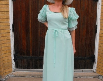 Pale Green Seafoam Formal Gown Vintage 70s Bianchi Dress Sheer XS