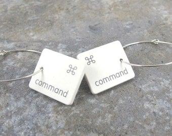 Command Key, Mac, Apple, Recycled, Keyboard Key, Earring, Jewelry, Gift, Birthday, Anniversary, Wedding