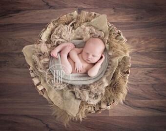 Burlap Fluff Basket Nest Filler Newborn Photo Prop Organic Basket Filler Photography Prop Basket Stuffer