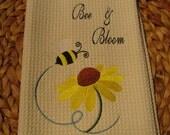 Bee and Bloom (Cream) - Microfiber Waffle Weave Kitchen Hand Towel