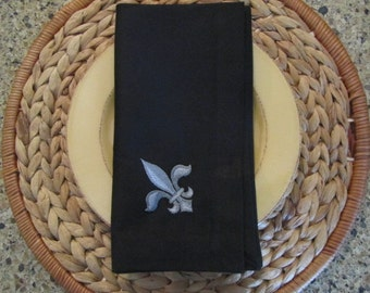 Napoleonic Fleur de Lis (Black) - Fete Cloth Casual Dinner Napkins 19x19 (set of 4)