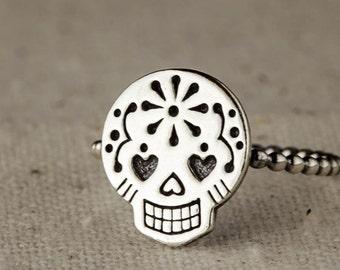 Sugar Skull Ring, Dia de los Muerto, Silver Skull Ring, Sterling Silver Stacking