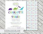 Dinosaur Birthday Invitation ROAR  - Printable 5x7 - Boy or Girl - More colors available