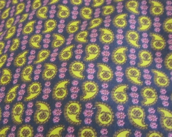Paisley Cotton Fabric - Dark blue background with chartruese green olive & pink details - by the 22 x 44 VIN12