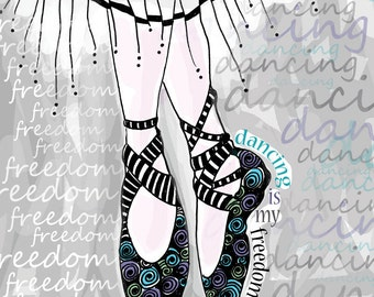Dancing is My Freedom / original illustration ART Print SIGNED / 8 x 10
