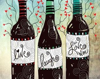 Wine Love Art Print original illustration ART Print Hand SIGNED size 8 x 10