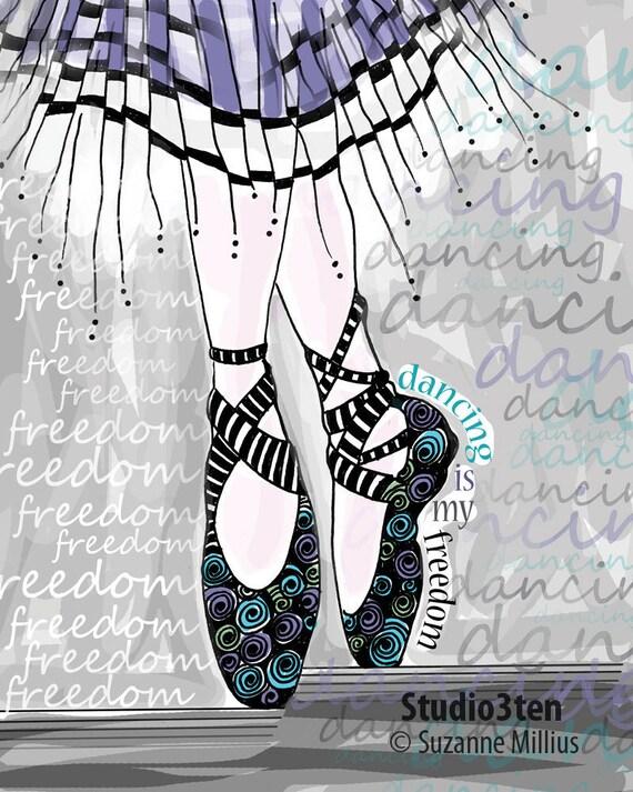 Dancing is My Freedom / original illustration ART Print SIGNED / 8 x 10
