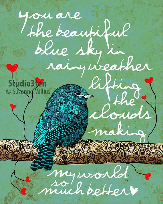 You are My Blue Sky / original illustration ART Print Hand SIGNED size 8 x 10