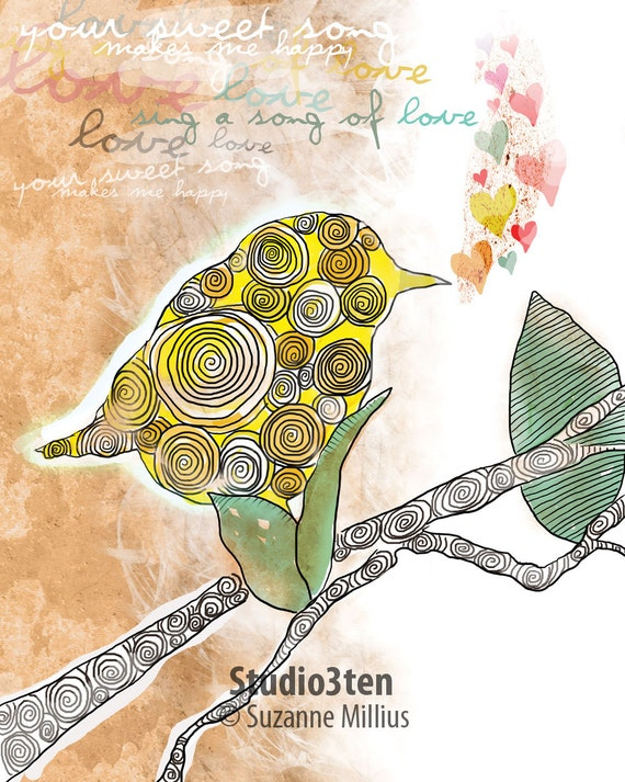 Sing Your Sweet Song / original illustration ART Print SIGNED / 8 x 10