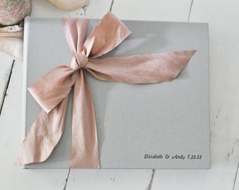 Personalized Wedding Photo Album - Guest Book - Silk Dupioni Bow by Claire Magnolia