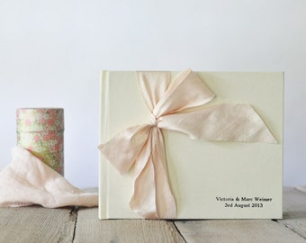 Wedding Album - Wedding Guest Sign In - Silk Dupioni Bow by Claire Magnolia