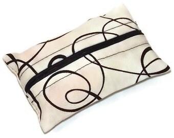 Black and White Swirl Travel Tissue Cozy, Kleenex Holder, Pocket Tissue Pouch, Purse Size Tissue Holder