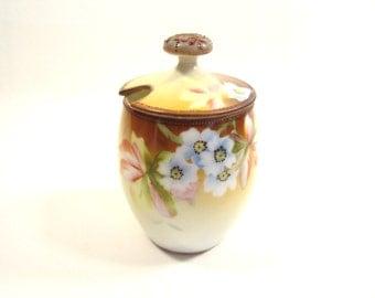 Vintage Nippon Condiment Jam Mustard Jar  Moriage Floral Porcelain Lidded Green M in Wreath Flowers