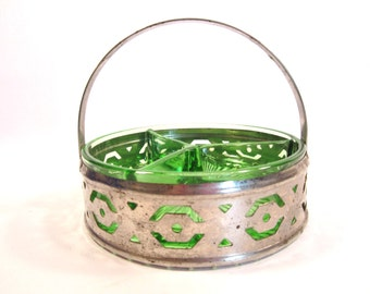 Vintage Green Glass Divided Dish in Metal Basket with Swing Handle