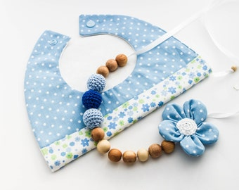 Morther Baby Boy Gift Set: Nursing Necklace/Teething and Baby Bib Made in Israel by CasaDeGato
